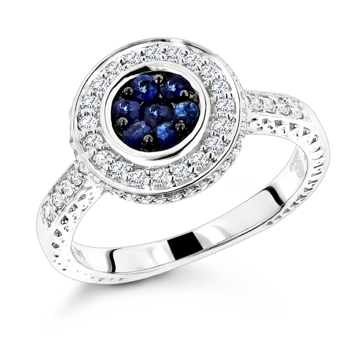 Unique Ladies Diamond Rings: 14K Gold Blue Sapphire Engagement Ring 0.7ctw