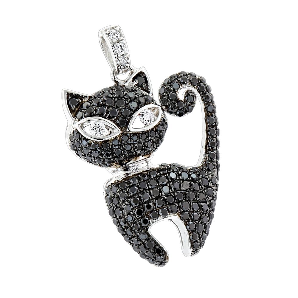 Unique ladies pendants 14k gold black kitty cat diamond pendant 115ct mozeypictures Choice Image