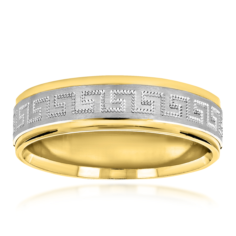 Unique Looking Solid 14K Two Tone Gold Wedding Band for Women ...
