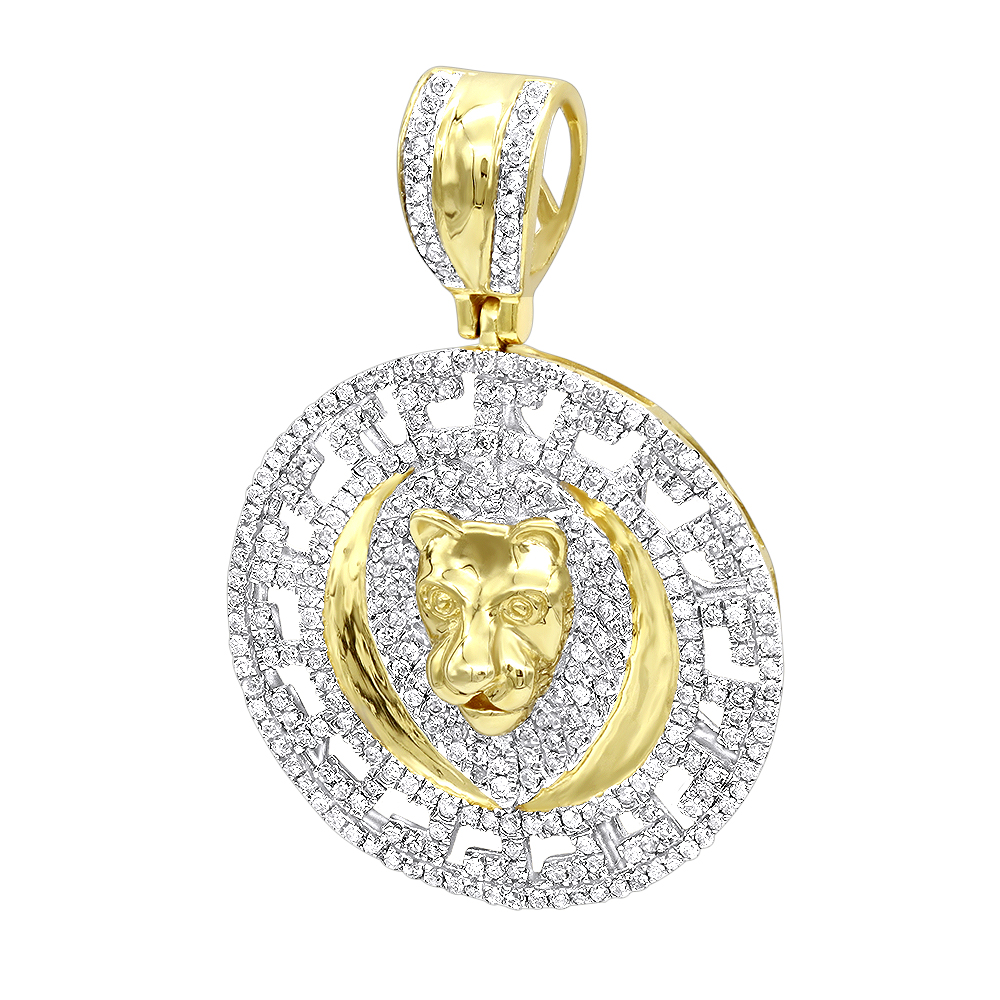 Unique luxurman 10k gold lion head diamond pendant for men medallion unique luxurman 10k gold lion head diamond pendant for men medallion 09ct mozeypictures