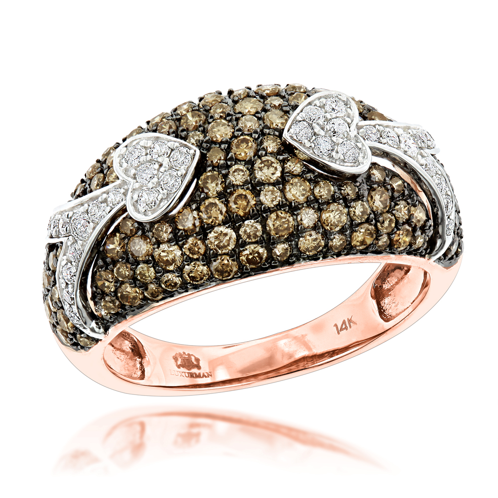 Unique Luxurman Champagne Diamond Right Hand Ladies Ring 1.5ct 14K Gold