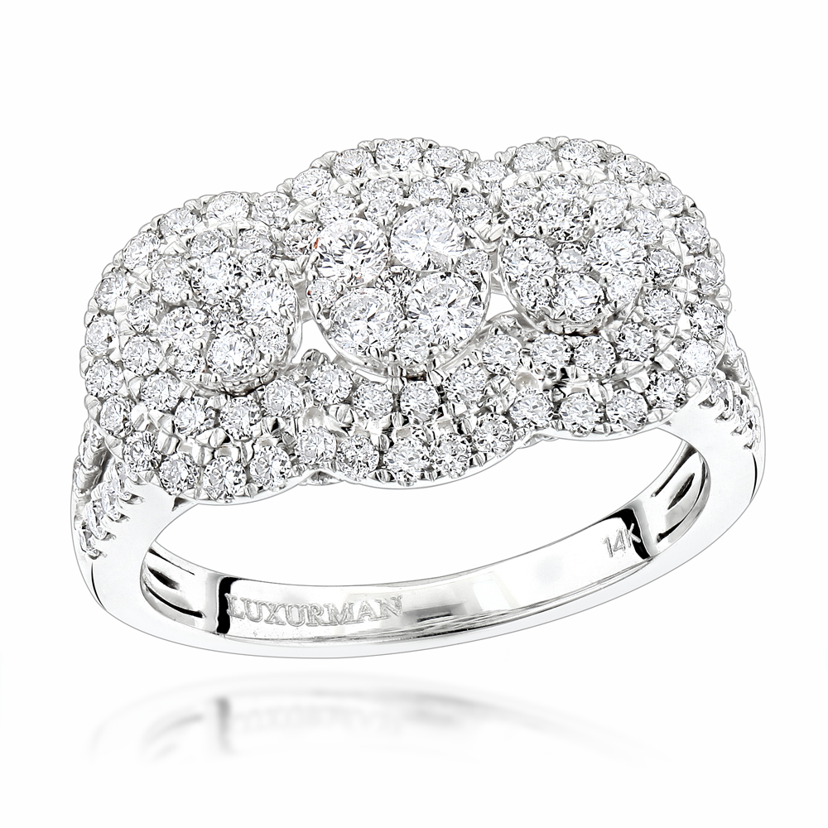 Unique Luxurman Double Halo Cluster Diamond Engagement Ring 1.6ct 14K Gold