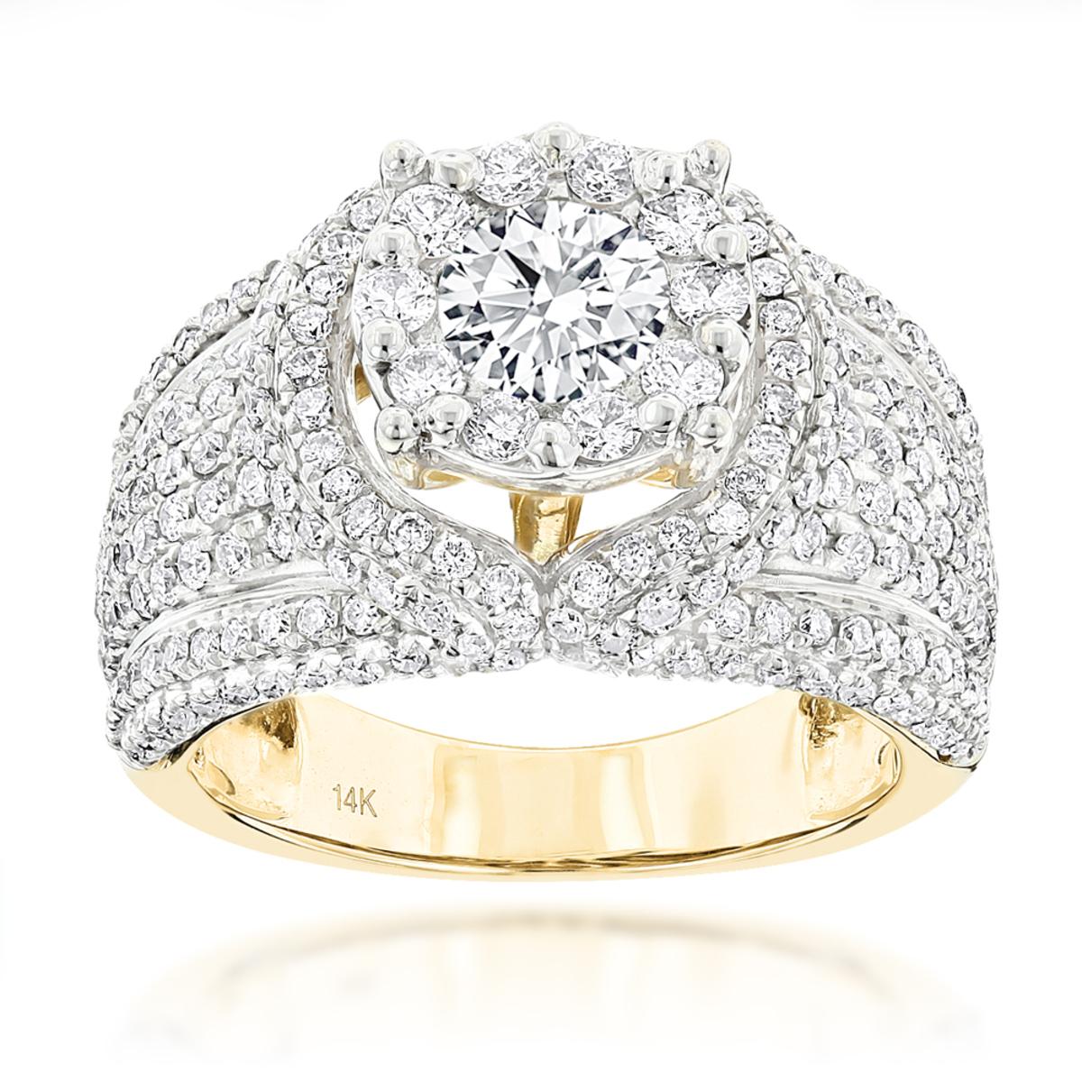 Unique Luxury 14K Gold Diamond Engagement Ring 2.79ct