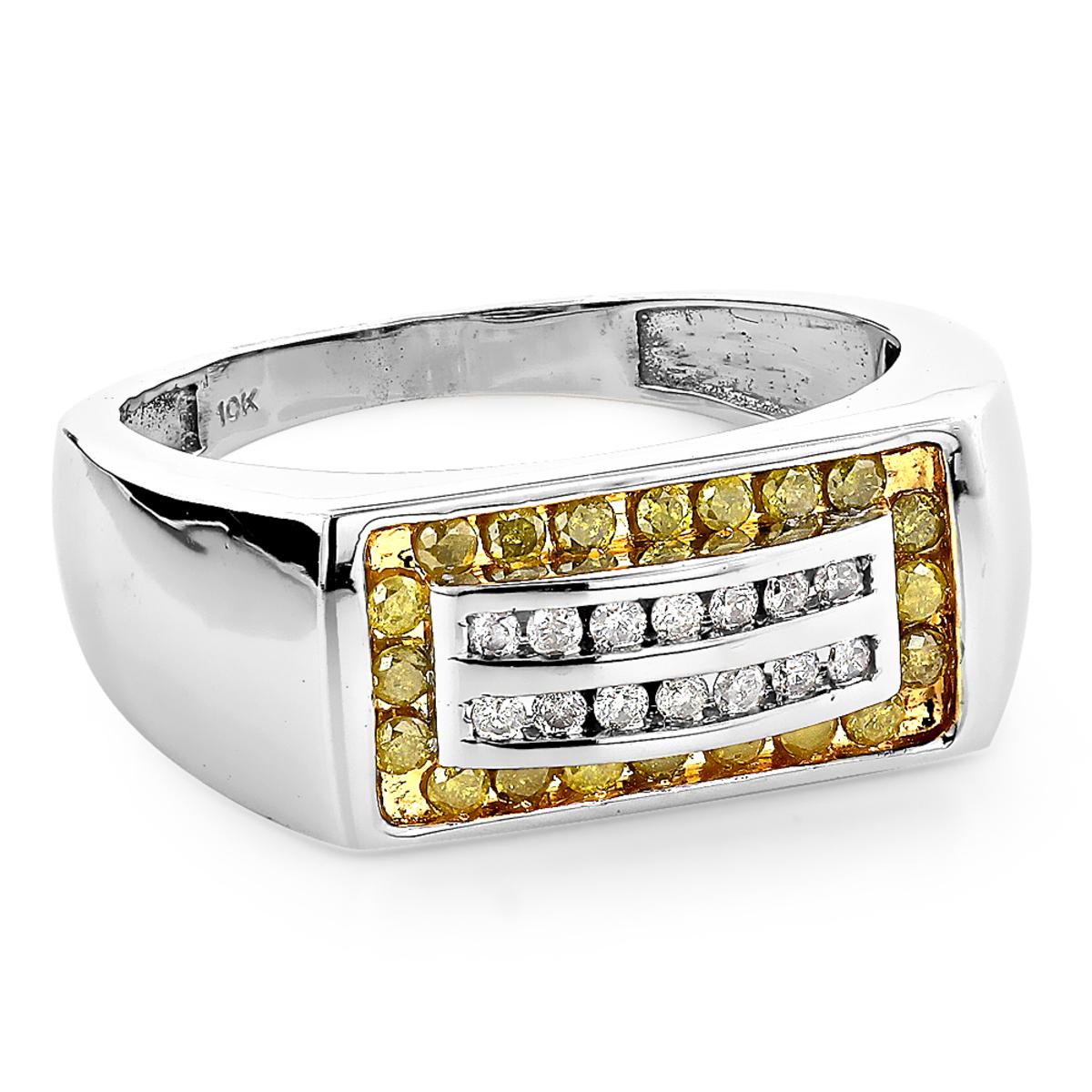 Unique Men's Diamond Bands 10k Gold White & Yellow Diamonds Pinky Ring