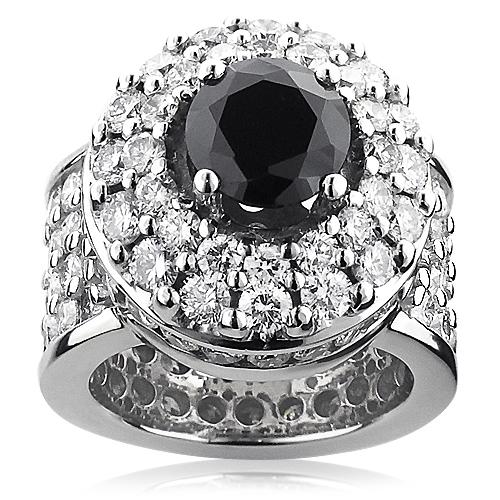 Unique Mens Gigantic White and Black Diamond Ring 13ct 14K Gold