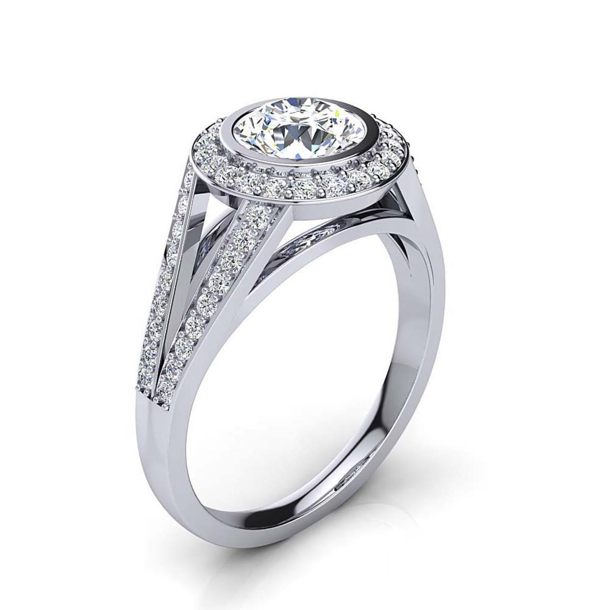Unique Platinum Halo Diamond Engagement Ring by Luxurman 1.35ct