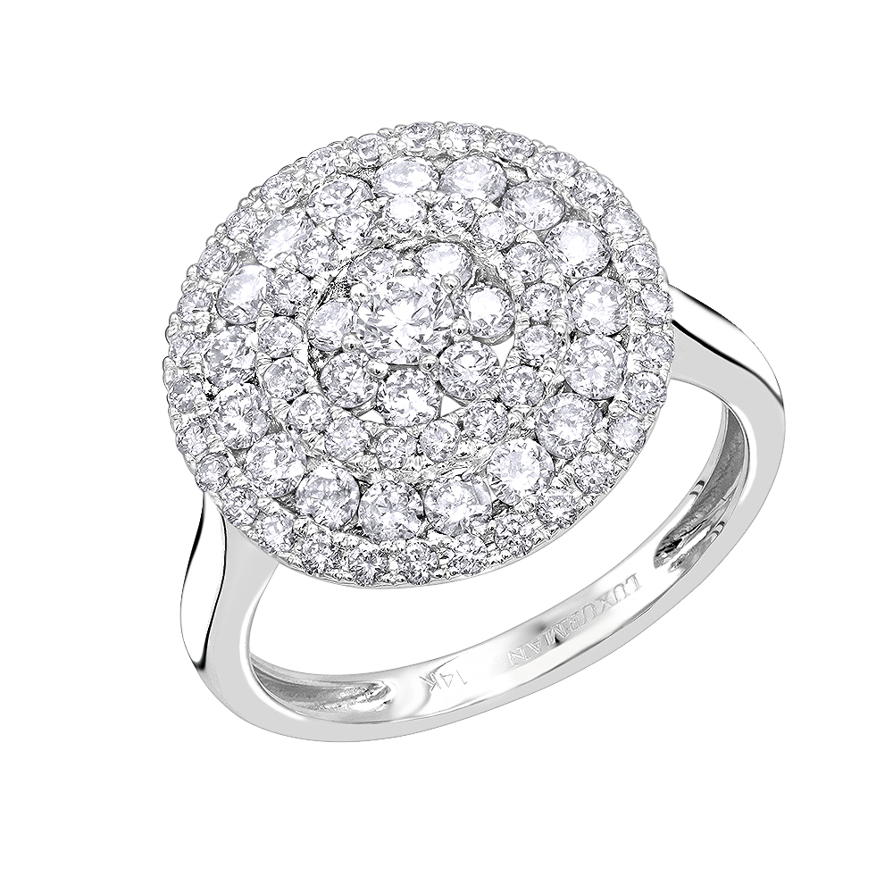 Unique Right Hand Ring: Round Diamond Ring for Women 14k Gold 1.5ct