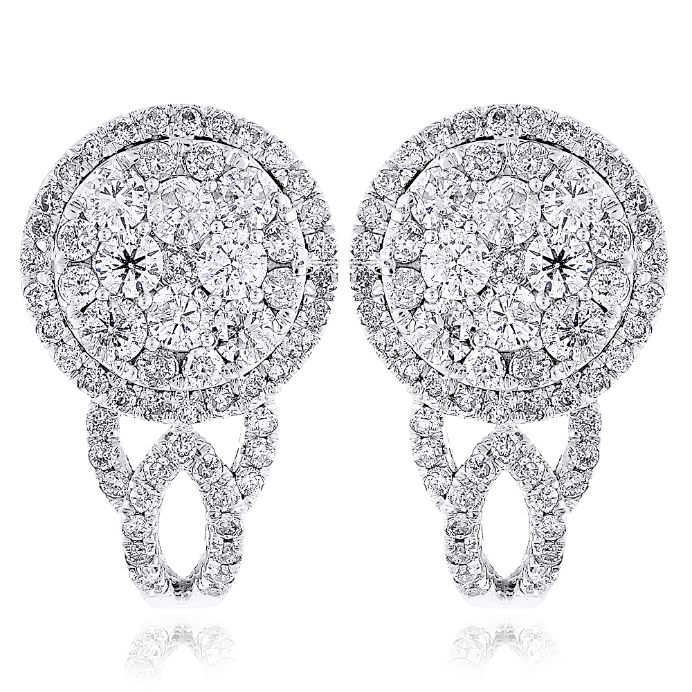 Unique Round Diamond Earrings Halo Cluster Design 14k Gold 1.8ct