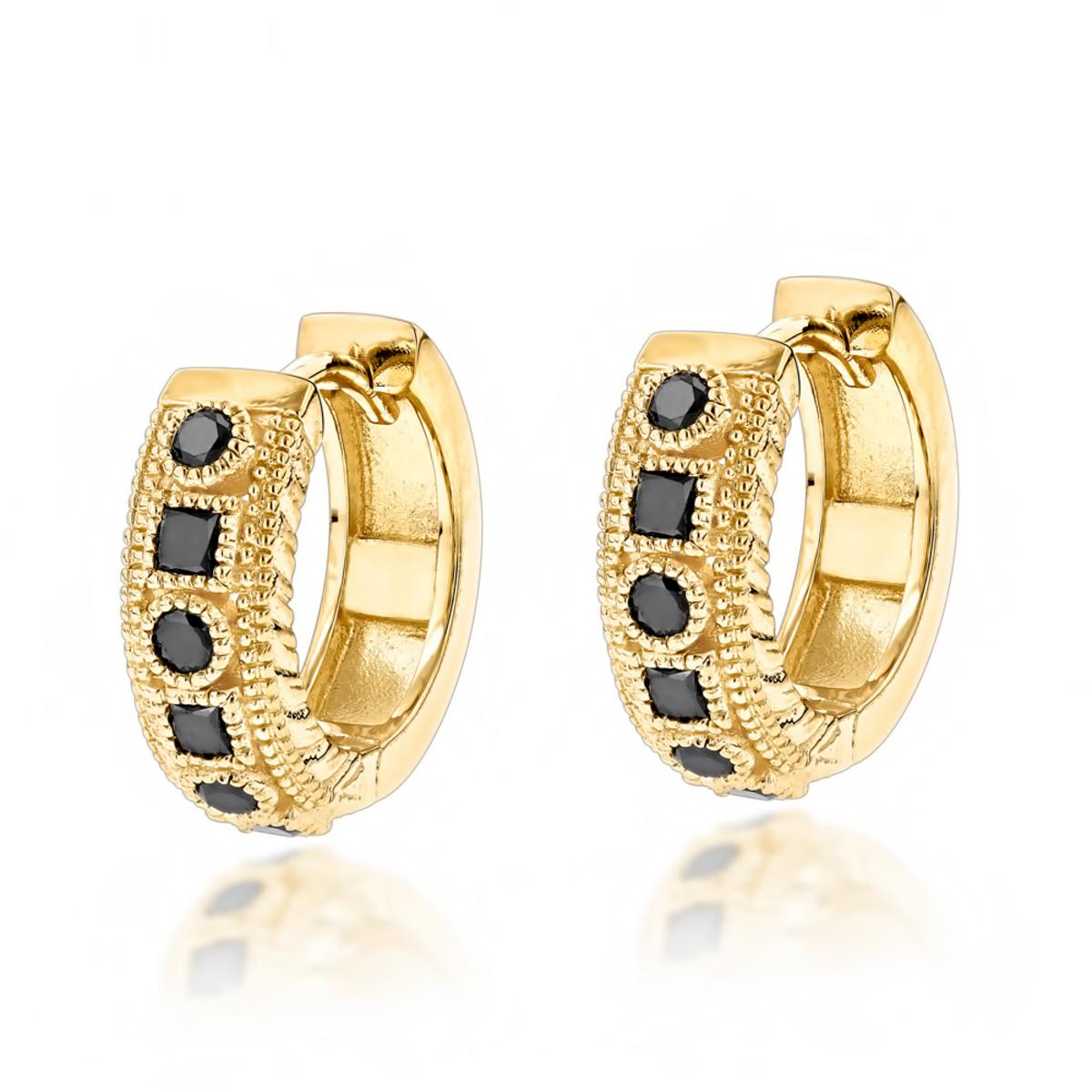 Unique Small Diamond Hoop Earring: Black Diamond Huggies in 14k Gold ...