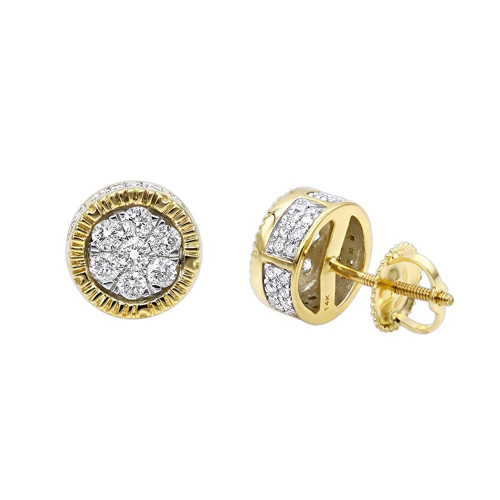 Unique 14K Gold 3 Carat Look Cluster Diamond Stud Earrings by Luxurman 0.75ct