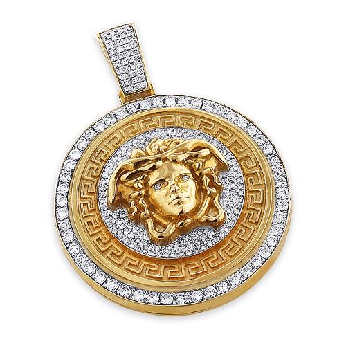 Unique Versace Style Diamond Pendant 6ct 10K Gold Medusa Head
