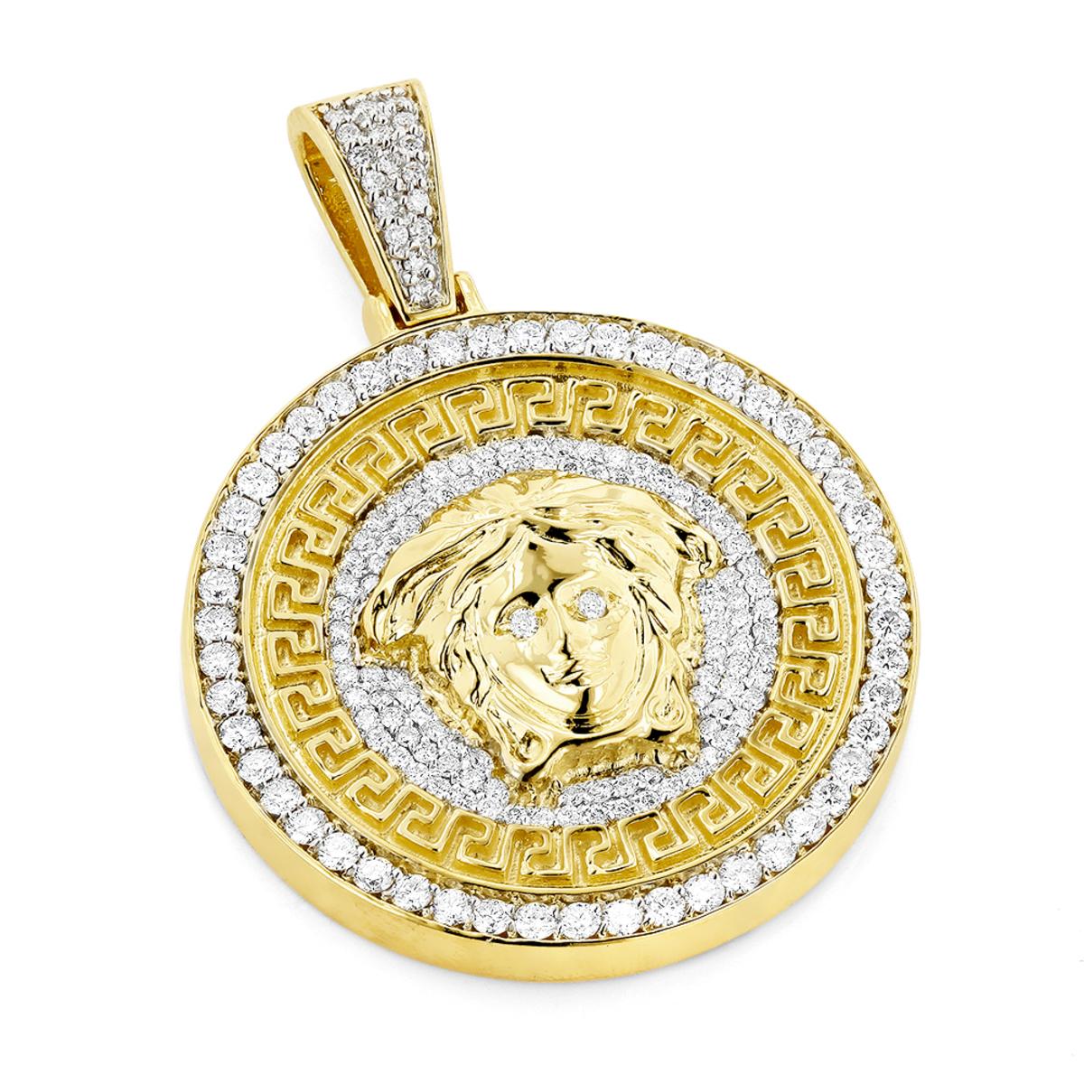 Unique Versace Style Diamond Pendant Medusa Head Medallion 10 Gold