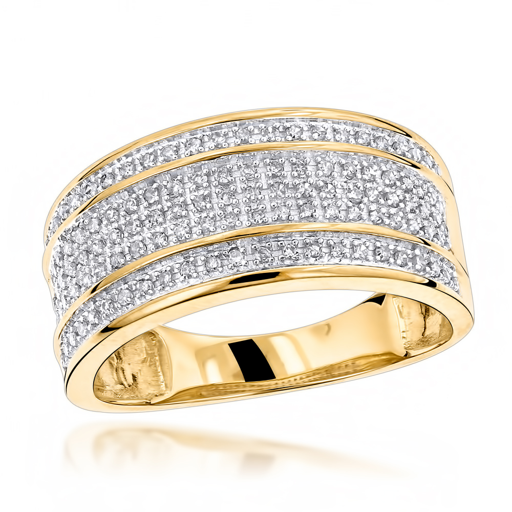 Unique Wedding Bands 10K Gold 5 Row Diamond Ring for Men