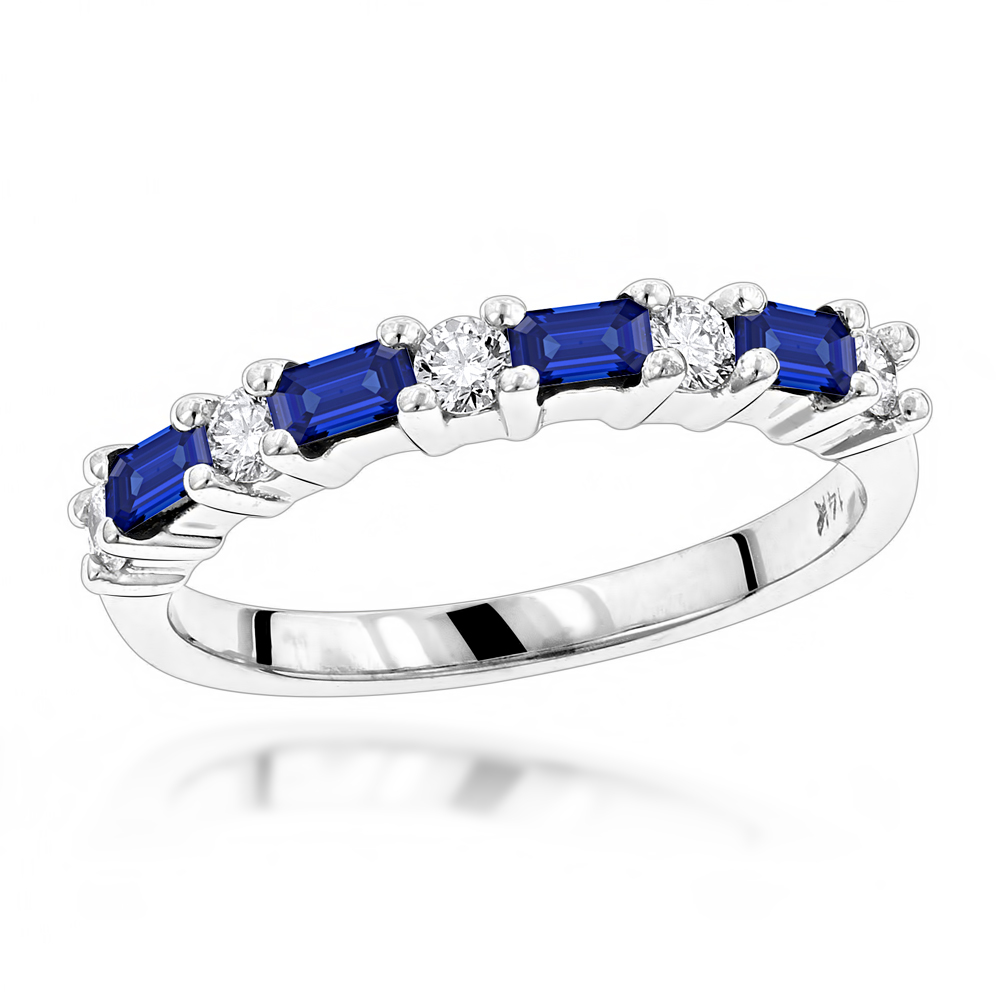 Unique Wedding Bands: 14K Gold Diamond and Sapphire Ring for Women 0.58ctw