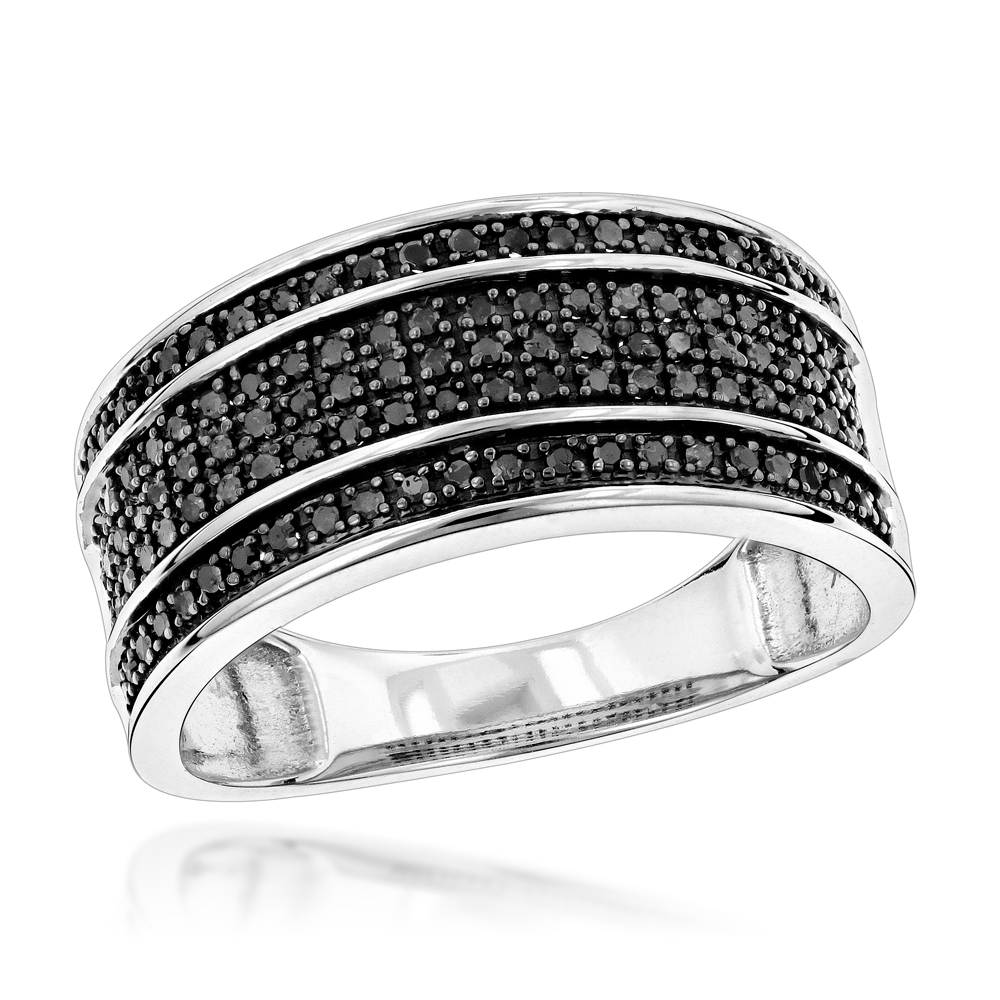 Unique wedding rings 10k gold 5 row black diamond wedding band junglespirit Gallery