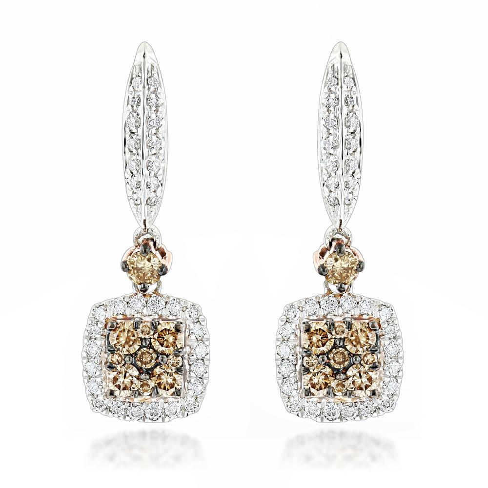 Unique White & Champagne Diamond Ladies Drop Earrings 1.04ct 14K Gold