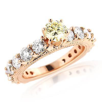 Unique White & Fancy Yellow Diamond Engagement Ring 18K Rose Gold 2.26ct