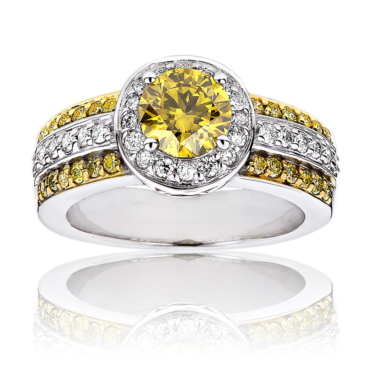 Unique White Yellow Diamond Engagement Ring Halo Design 14k Gold 1.65ct