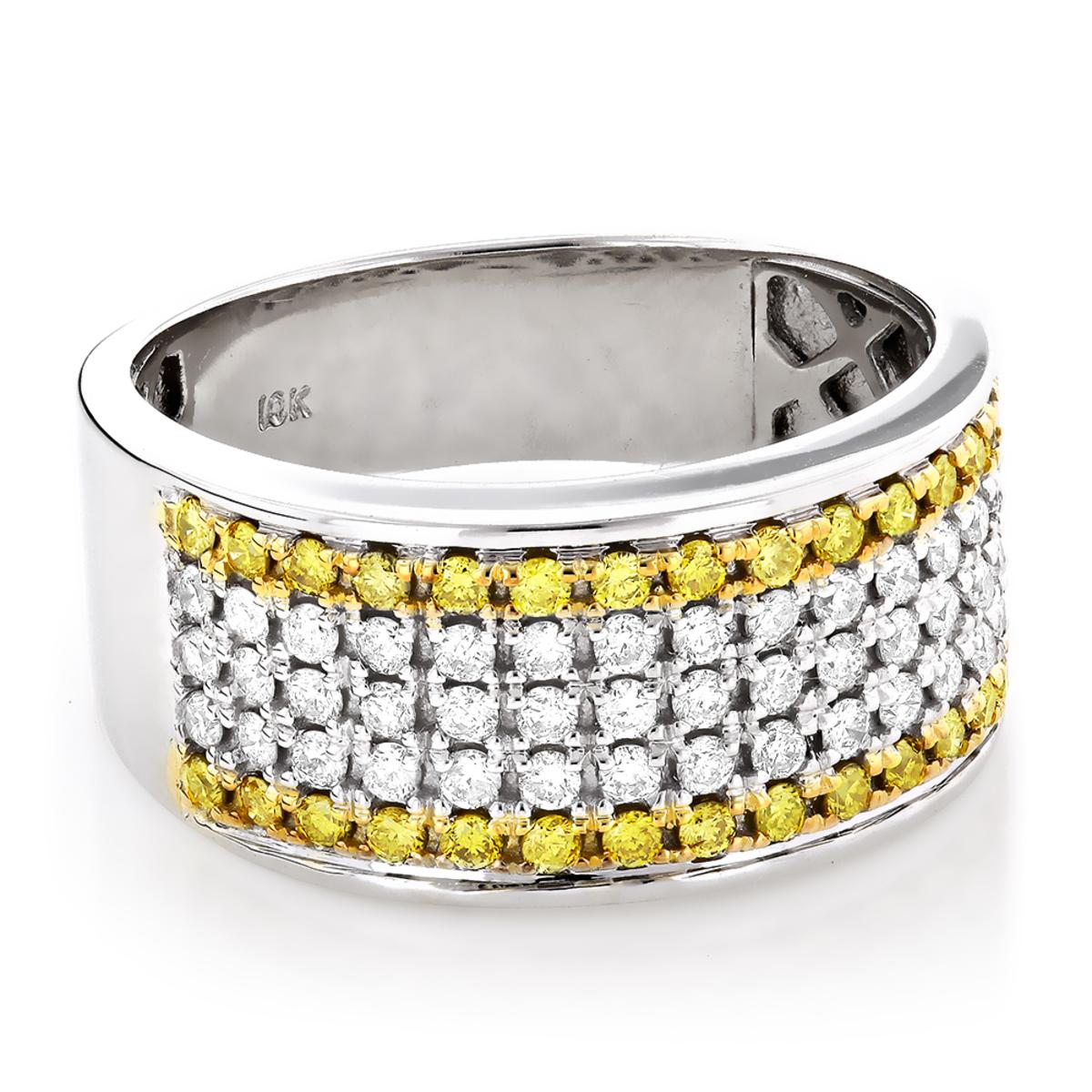 Unique White Yellow Diamond Wedding Band 1.5ct 10K Gold Luxurman