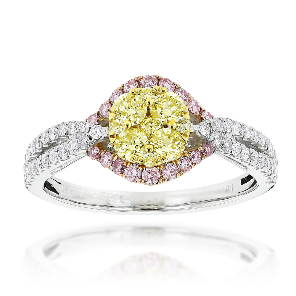 Unique White Yellow Pink Diamond Engagement Ring by Luxurman 1.2ct 14K Gold
