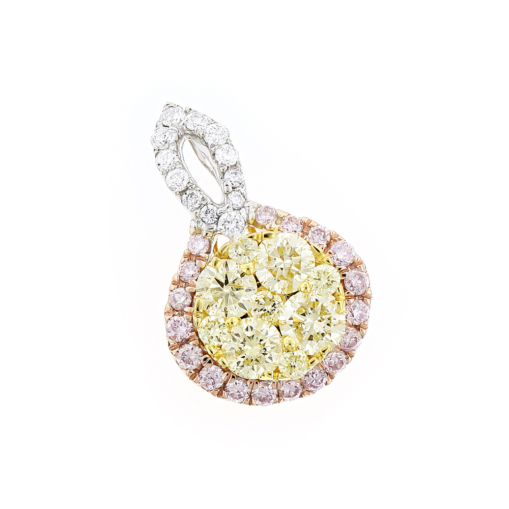 Unique White Yellow Pink Diamond Ladies Drop Circle Pendant 14K Gold 1ct