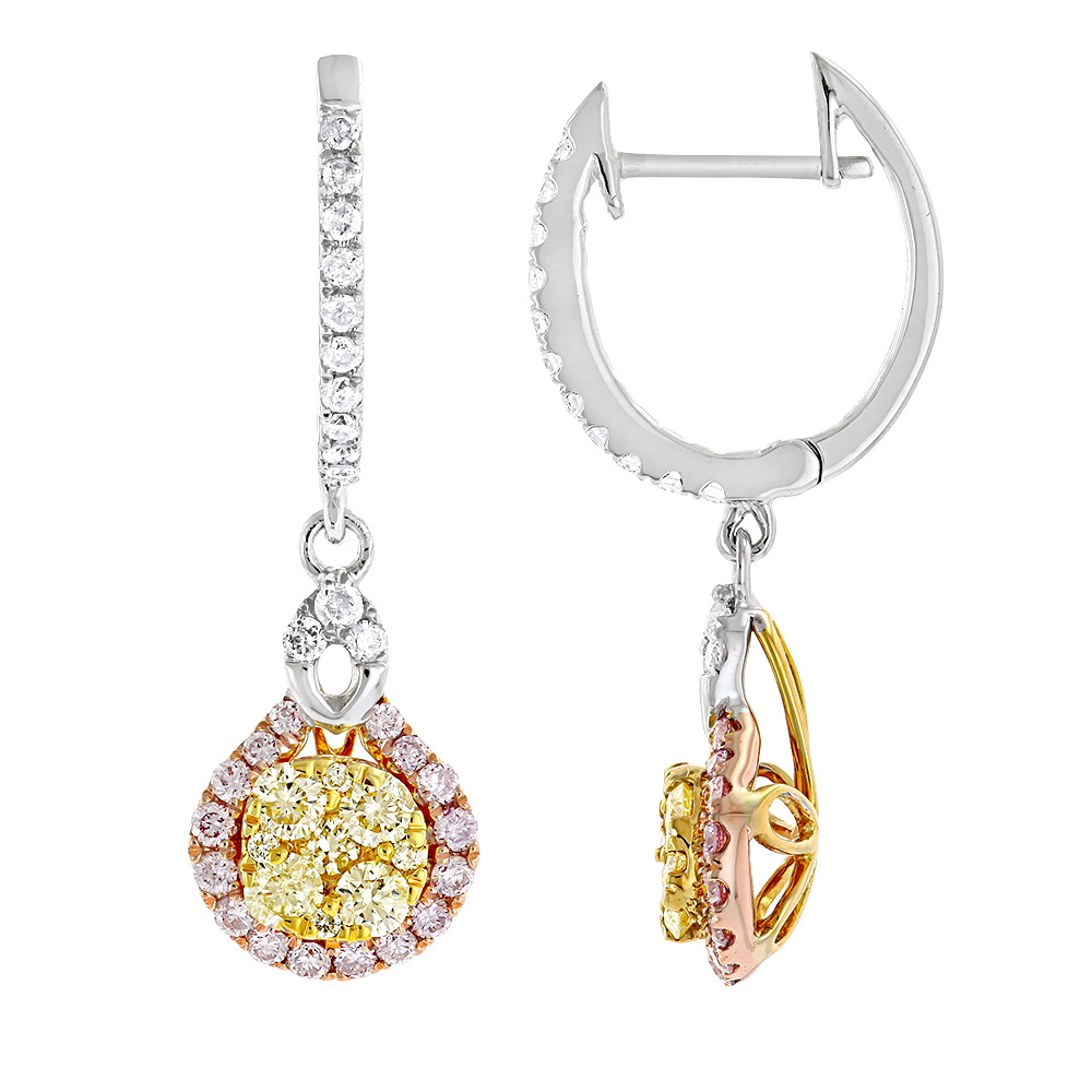 Unique White Yellow Pink Diamond Ladies Drop Earrings by Luxurman 1.3ct