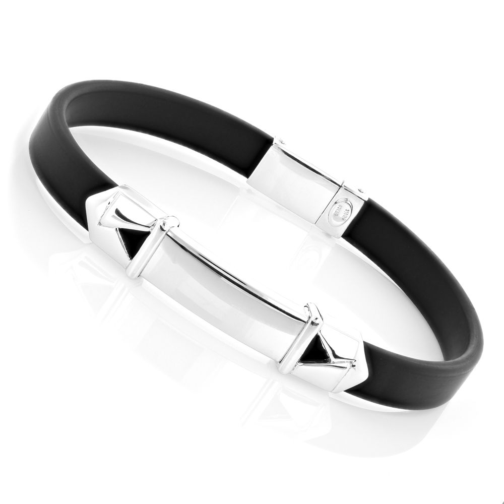 Unisex 18K White Gold and Rubber Bracelet