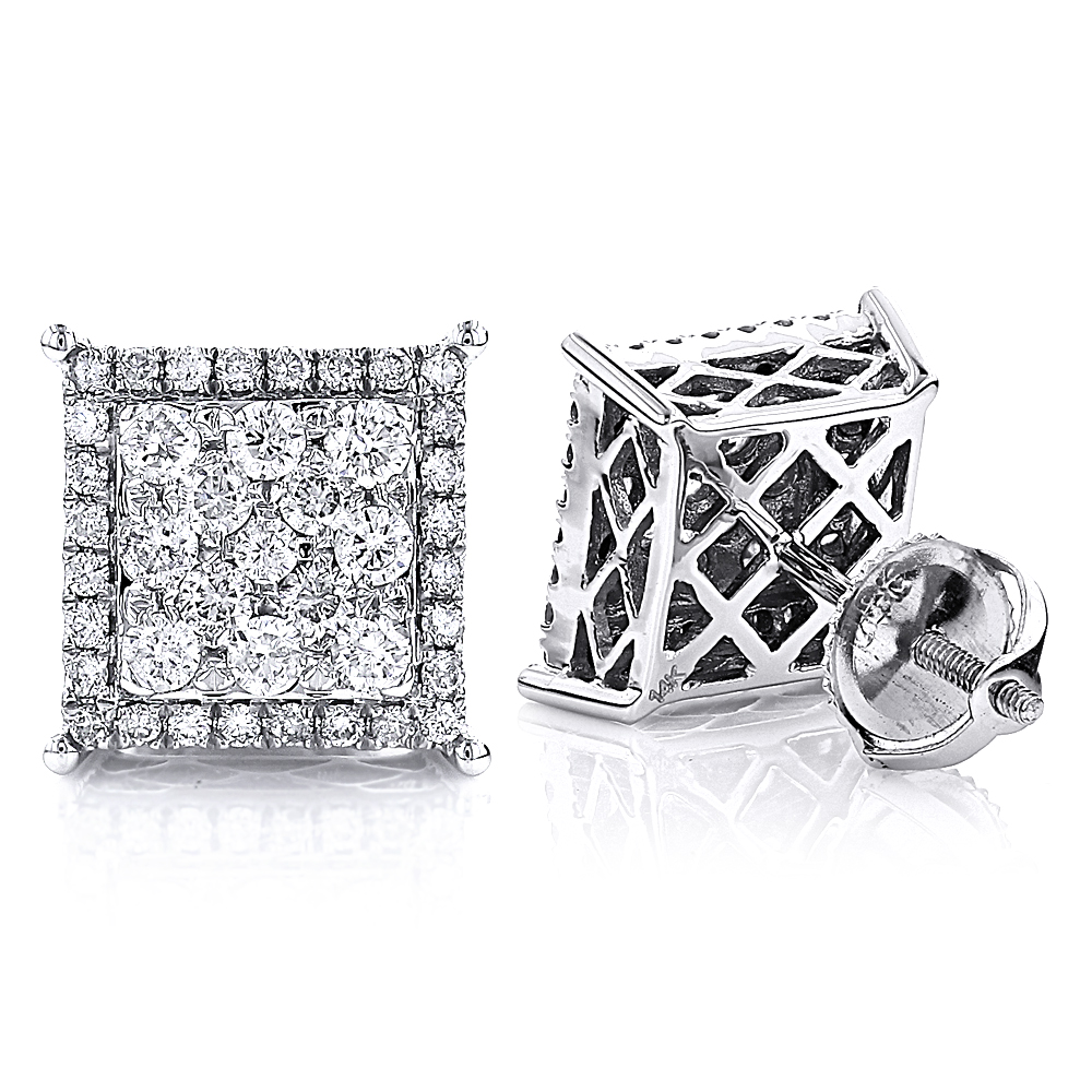 Unisex Square Stud Diamond Cluster Earrings 14K Gold 1.18ct