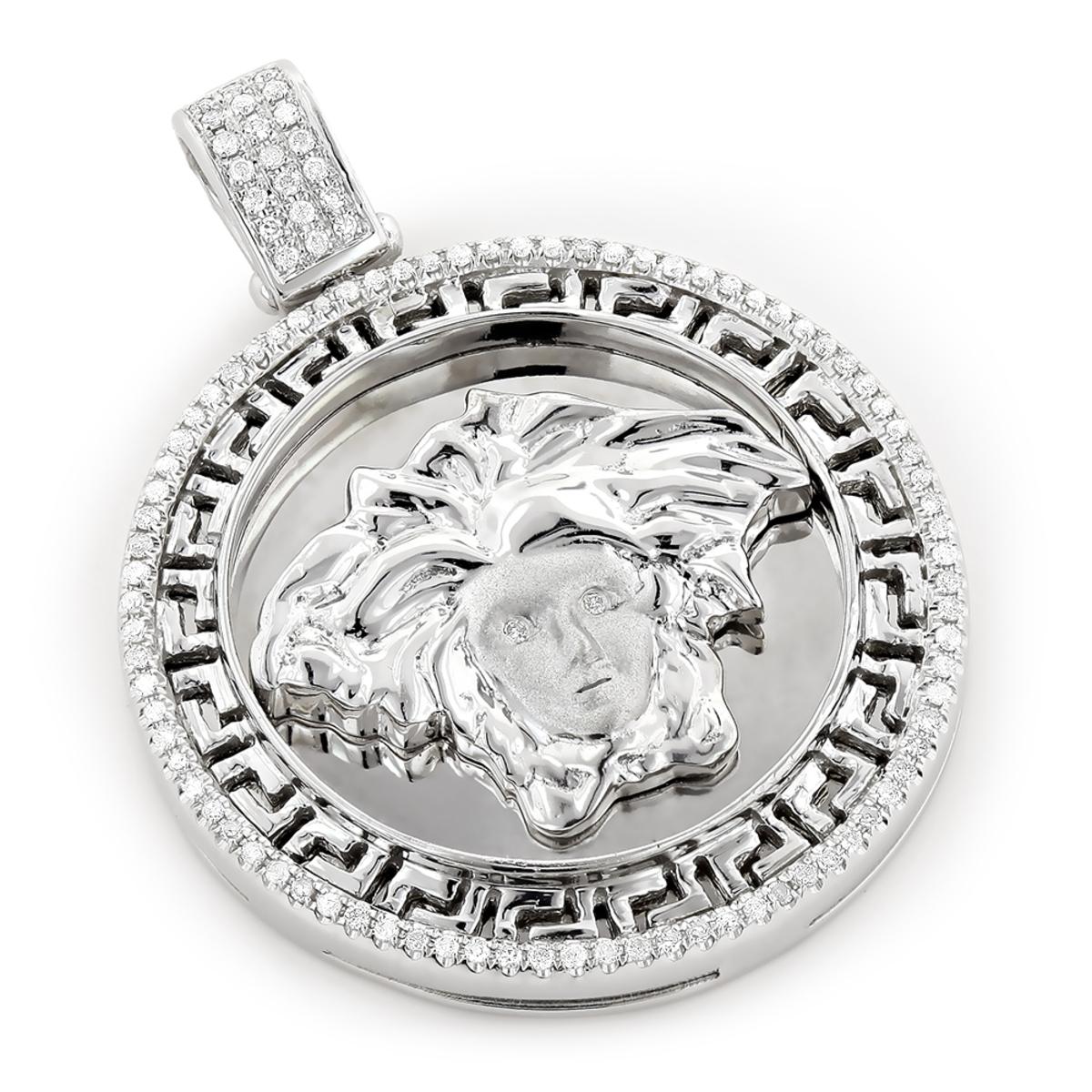 Versace Style Medusa Head Diamond Pendant Medallion 0.52ct 10k Gold