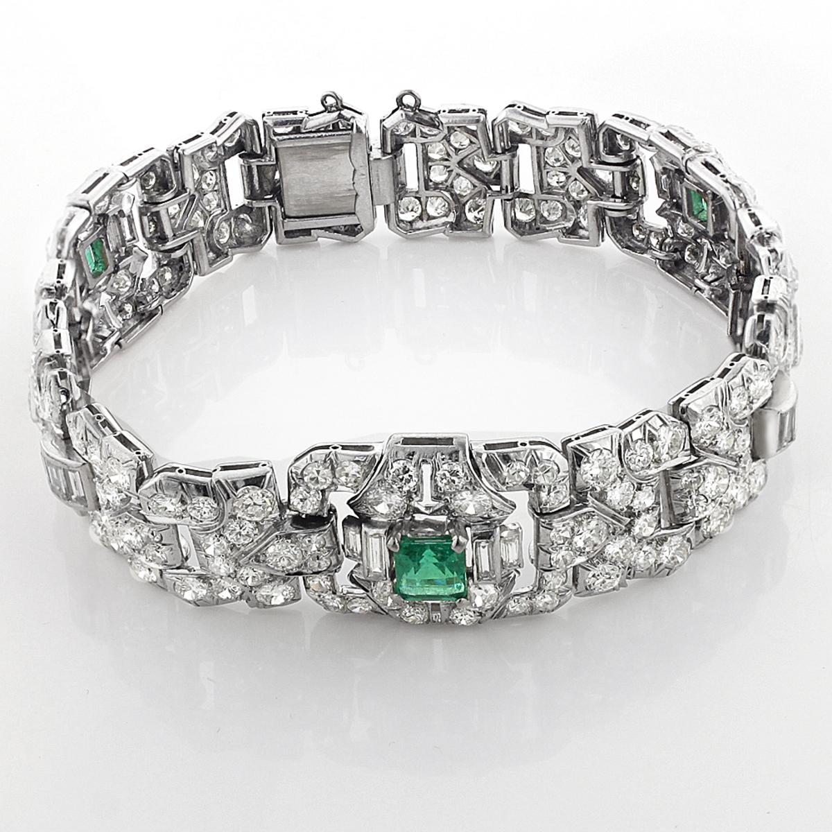 Vintage Fine Estate Jewelry: Platinum Diamond Bracelet for Women w Emeralds