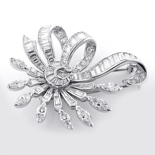 Vintage Fine Estate Jewelry: Vintage Platinum Diamond Brooch 6ct