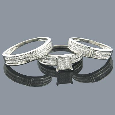 Wedding Ring Sets 14K Diamond Engagement Ring Set 1.08