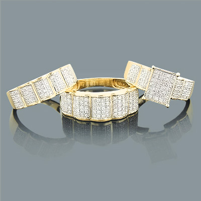 Wedding Ring Sets Trio Diamond Ring Set 088ct 10K