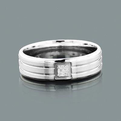 Wedding Rings for Men: Round Diamond Band 0.05ct 14K Gold
