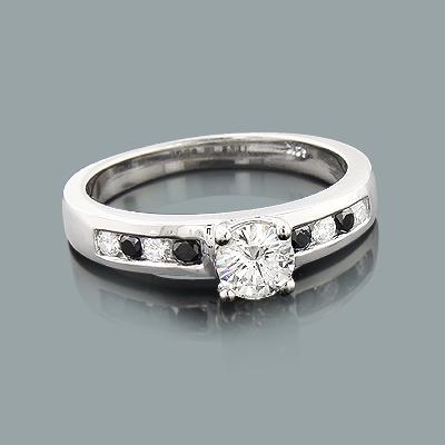 White and Black Diamond Engagement Ring 0.74ct 14K Gold
