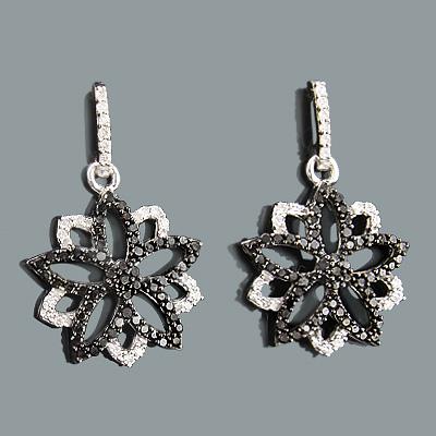 White and Black Diamond Flower Earrings 0.62ct 14K Gold