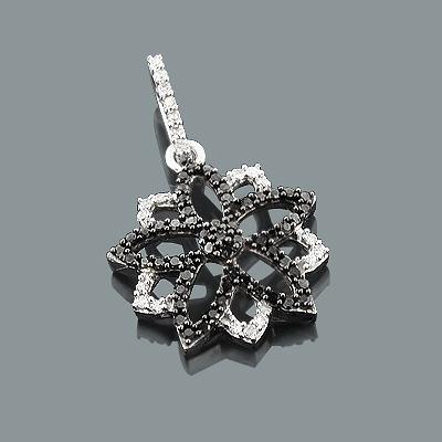 White and Black Diamond Flower Pendant 0.30ct 14K Gold