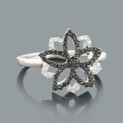 White and Black Diamond Flower Ring 0.29ct 14K Gold