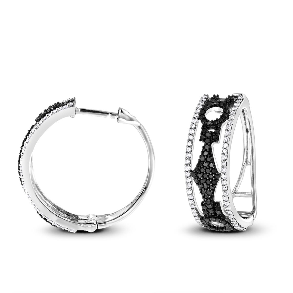 White and Black Diamond Hoop Earrings 0.9 ct 14K Gold