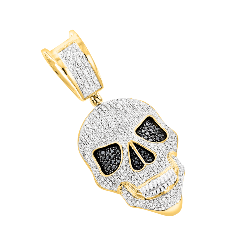 White and black diamond iced out skull pendant in 10k gold 083ct mozeypictures Images