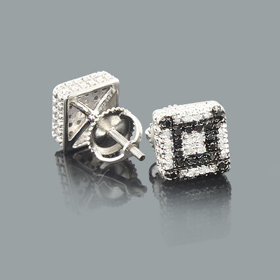 White and Black Diamond Stud Earrings 0.45ct Silver