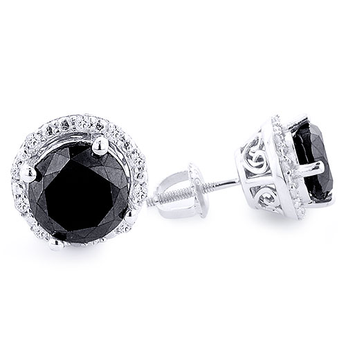 White and Black Diamond Stud Earrings 3.2ct Sterling Silver