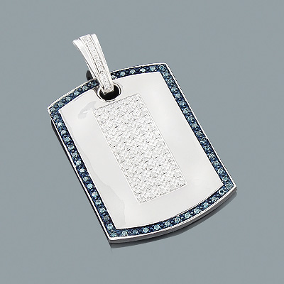 White and Blue Diamond Dog Tag Pendant 1.27ct Sterling Silver