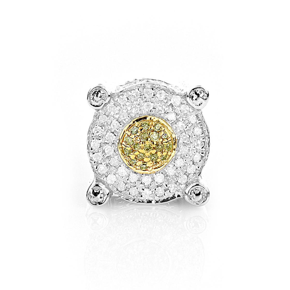 White and Yellow Diamond Earring 0.25ct Single Mens Stud