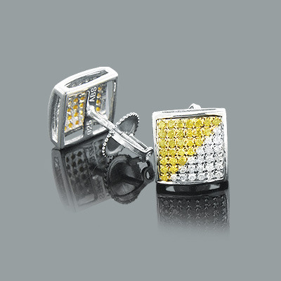 White and Yellow Diamond Stud Earrings 0.75ct Silver