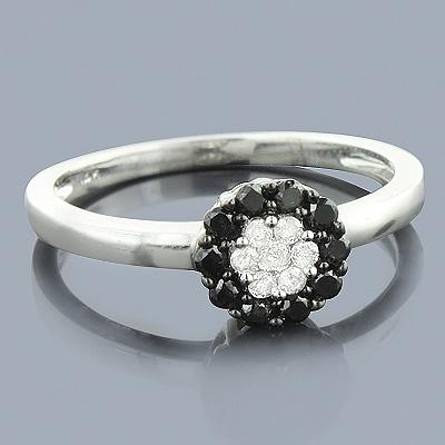 White Black Diamond Cluster Ring 0.60ct 14K