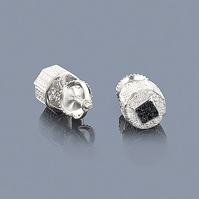 White Black Diamond Earrings 0.40ct Silver