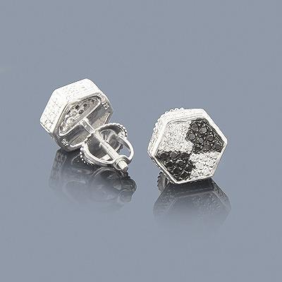 White Black Diamond Earrings 0.40ct Silver
