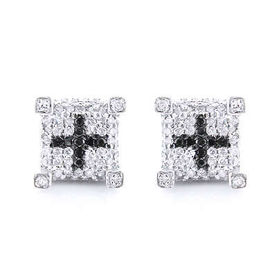 White Black Diamond Earrings 0.61ct Silver