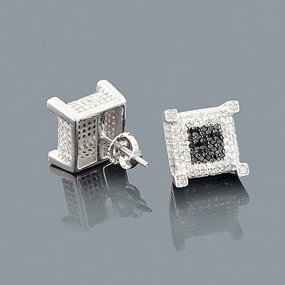 White Black Diamond Earrings 1.33ct Sterling Silver